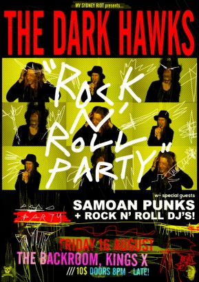 DARK HAWK PARTY BACKROOM WEB POSTER