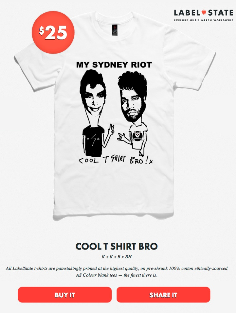 MY SYDNEY RIOT COOL T SHIRT BRO